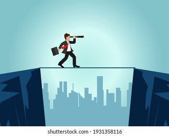 Businessman running up stairway to the top of mountain, Business concept growth and the path to success, Flat design vector illustration