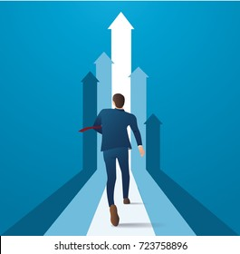 businessman running to succeed in a career vector illustration