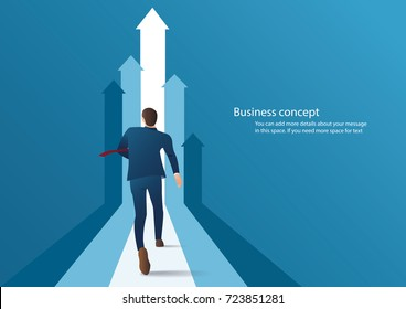 businessman running to successful info graphic vector illustration
