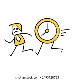 businessman running together with clock yellow stick figure design