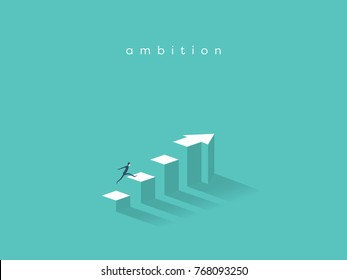 Businessman running to the top of the graph. Business concept of goals, success, ambition, achievement and challenge.