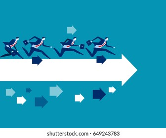 Businessman running toward. Concept business vector illustration.