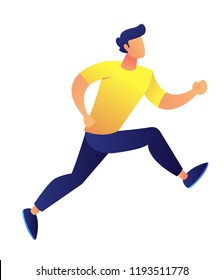 Businessman running vector illustration. Success achievement and business competition, time management and busy schedule, motivation and punctuality concept. Isolated on white background.