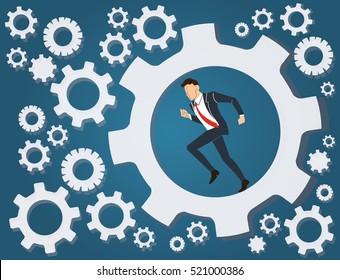 Businessman running in wheel gear background vector
