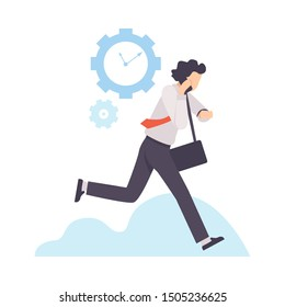 Businessman Running to Work With Briefcase, Organization and Control of Working Time, Efficient Time Management Business Concept Flat Vector Illustration
