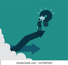 Businessman runs a puzzle to solve the question mark become a light bulb. The concept using the problem solving process to accomplish the goal.responsible progress concept