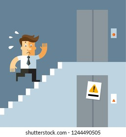 Businessman runs up the stairs as the elevator doesn't work. business concept vector illustration flat style.