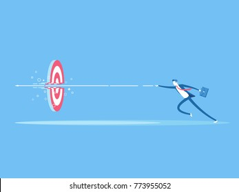 Businessman runs and throws a spear at a target flat vector illustration. Business concept  purpose, accuracy and skill. The employee hit with the arrow in the center of the target
