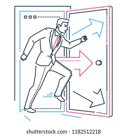 Businessman rushing through the door - line design style illustration on white background with silhouettes of arrows. Metaphorical image of a confident person opening the space, discovering new