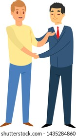 Businessman or saleman handshake meeting business partner client cartoon character vector illustration. Meeting handshake team agreement and meeting handshake corporate success contract.