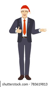 Businessman in Santa hat gesticulating and showing thumb up. Full length portrait of businessman in a flat style. Vector illustration.