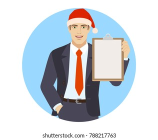 Businessman in Santa hat with hand in pocket holding clipboard. Portrait of businessman in a flat style. Vector illustration.