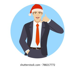 Businessman in Santa hat with hand in pocket showing a call me sign. Portrait of businessman in a flat style. Vector illustration.
