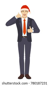 Businessman in Santa showing a call me sign and showing thumb up. Full length portrait of businessman in a flat style. Vector illustration.