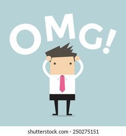 Businessman says oh my god!
