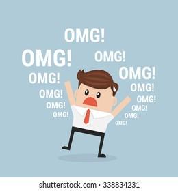 Businessman says oh my god!. vector