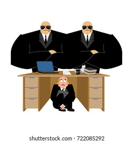 Businessman scared under table of collector. frightened business man under work board. repay debts. Boss fear office desk. To hide from arrears. Vector illustration