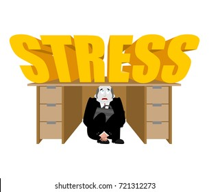 Businessman scared under table from stress. frightened boss under work board. Vector illustration