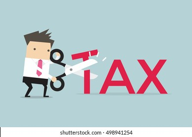 Businessman with scissors cutting big T letter vector illustration. Reduce Tax Business concept.