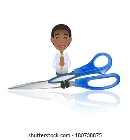 Businessman with scissors over white background. Vector design