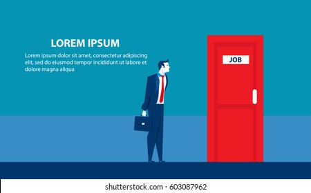 Businessman searching for job. Man standing candidate office room doors. Concept business illustration. Vector flat