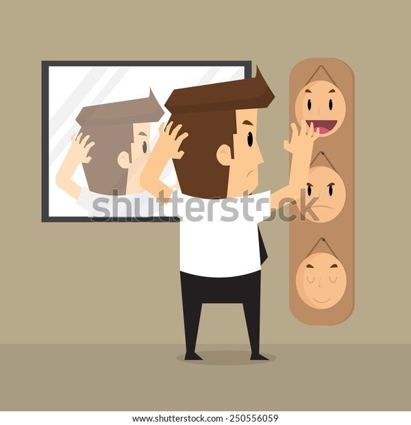 businessman  select mask in work a day.vector