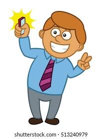 Businessman Selfie Cartoon