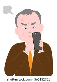 The businessman of the senior that is angry at the trouble of the smartphone.