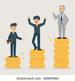 Businessman with seniority system vector illustration. Working development concept.