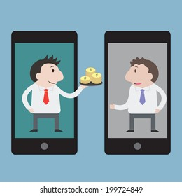 Businessman sent money with mobile phone - Vector