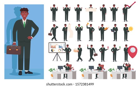 Businessman. Set of businessmen characters working in office. Vector illustration