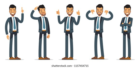 Businessman set. Character in a business suit in different poses. Vector illustration isolated on white background.