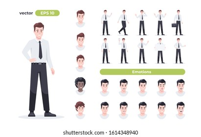 Businessman set isolated. Man in the workplace. Office worker in suit. Cartoon people in different poses and actions. Cute male character for animation. Simple design. Flat style vector illustration.