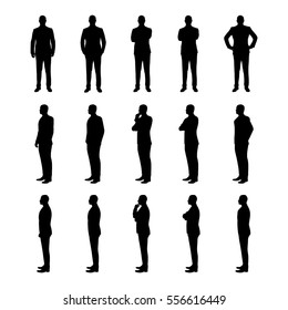 Businessman set of vector silhouettes. Man in suit in various poses from three different angles. Manager, lawyer, broker, boss, teacher