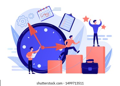 Businessman sets goals and runs up on graph columns for success on time. Self-management, self regulation learning, self-organization course concept. Living coral blue vector isolated illustration