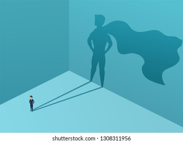 Businessman with shadow superhero. Super manager leader in business. Concept success, quality of leadership, trust. Vector illustration