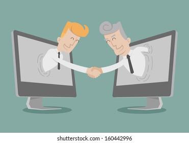 Businessman shake hand , Online Business , Online Marketing , eps10 vector format