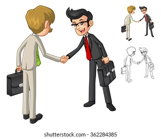 Businessman Shake Hands Poses with Client Cartoon Character Include Flat Design and Line Art Version Vector Illustration