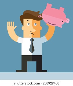 Businessman shaking an empty piggy bank. Flat vector illustration