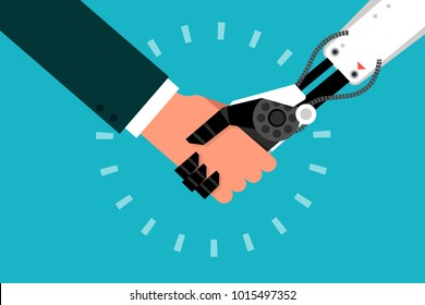 Businessman shaking hand withe robot, flat design vector.