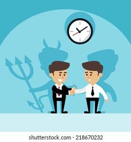 Businessman shaking hands with devil shadow behind scene vector illustration