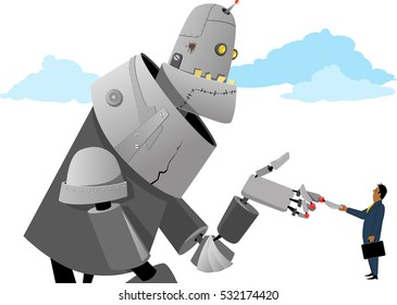 Businessman shaking hands with a giant robot, EPS 8 vector illustration, no transparencies