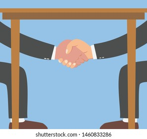 Businessman shaking hands under the table isolated on blue background.vector illustration.secret deal meeting business concept