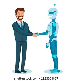 businessman shaking robot hand. Artificial intelligence. introduction of robots in production. cartoon vector illustration isolated on white background.