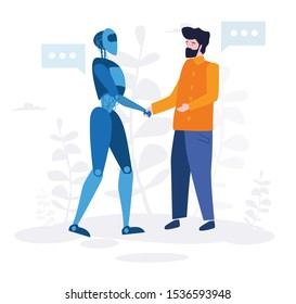 Businessman shaking robot hand. Artificial intelligence, AI and  man greet or confirm a deal, introduction of robots in production Vector illustration.for web banner, infographics, mobile website.