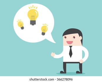 Businessman share business idea. Flat design for business financial marketing banking real estate advertisement office property in minimal concept cartoon illustration.