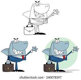 Businessman Shark Waving A Greeting. Vector Collection Set