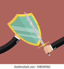 Businessman with shield protecting attack of enemy. Business concept