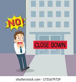 Businessman Shock When Business Close Down, illustration vector cartoon