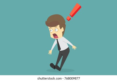 Businessman shocked by something.cartoon of business success is the concept of the man characters business, the mood of people, can be used as a background, banner, infographic. illustration vector